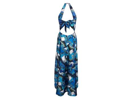 Robe Longue Bleu Floral Soleil Floral